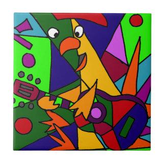 Funny Chicken Playing the Guitar Modern Art Origin Ceramic Tiles