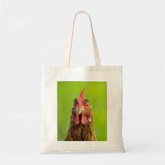 Funny Chicken Portrait on Green Tote Bag