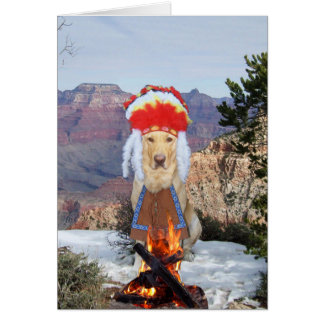 Funny Chief Dog/Lab Smoke Signals Birthday Card