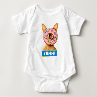 Funny Chihuahua Dog with Sprinkle Donut on Nose Baby Bodysuit