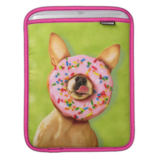 Funny Chihuahua Dog with Sprinkle Donut on Nose iPad Sleeve