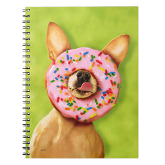 Funny Chihuahua Dog with Sprinkle Donut on Nose Notebooks
