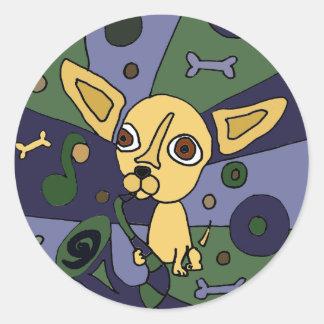 Funny Chihuahua Playing Saxophone Art Round Sticker