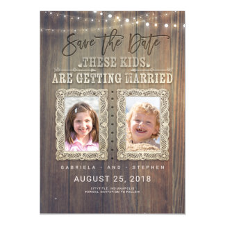 Funny Childhood Photos | Rustic Wood Save the Date Magnetic Card