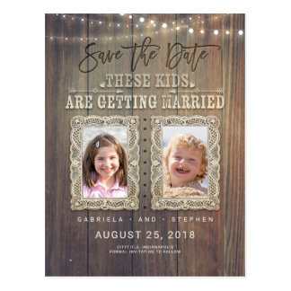 Funny Childhood Photos | Rustic Wood Save the Date Postcard
