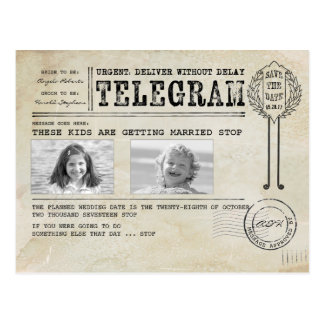 Funny Childhood Photos | Save the Date Telegram Postcard