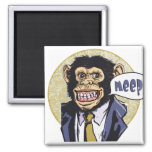 Funny Chimpanzee going Meep by Mudge Studios Square Magnet