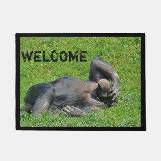 Funny Chimpanzee Photo Welcome Doormat