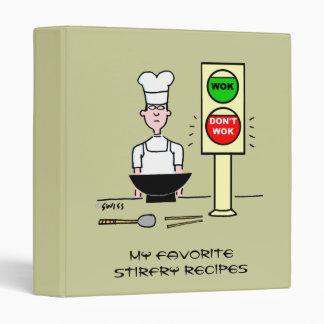Funny Chinese Chef Cartoon Stir Fry Wok Recipes Vinyl Binder