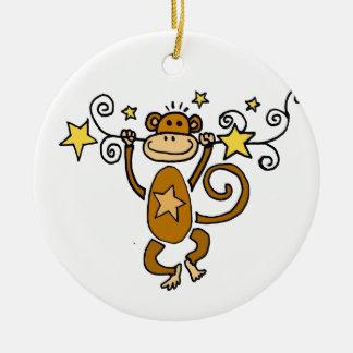 Funny Chinese Zodiac Monkey Round Ceramic Ornament