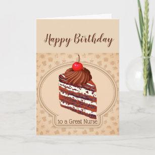 Funny Chocolate Cake Great Nurse Birthday Card