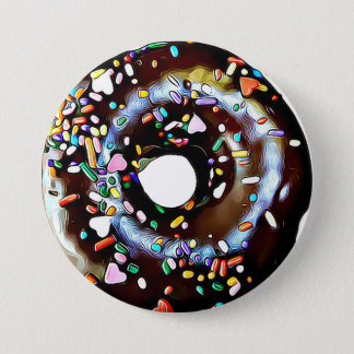 Funny Chocolate Donut Doughnut Button