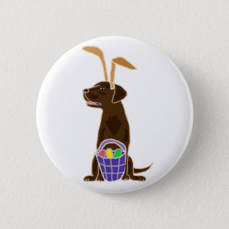 Funny Chocolate Labrador Retriever Easter Art 2 Inch Round Button