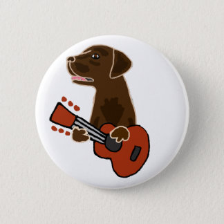 Funny Chocolate Labrador Retriever Guitar Art 2 Inch Round Button