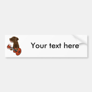 Funny Chocolate Labrador Retriever Guitar Art Bumper Sticker