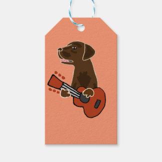 Funny Chocolate Labrador Retriever Guitar Art Pack Of Gift Tags