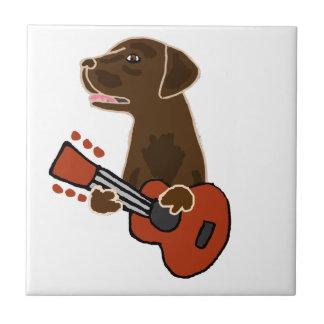 Funny Chocolate Labrador Retriever Guitar Art Tile