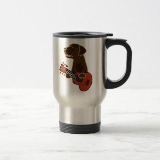 Funny Chocolate Labrador Retriever Guitar Art Travel Mug