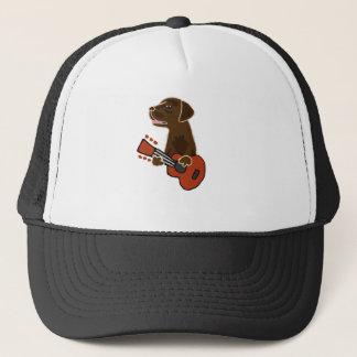 Funny Chocolate Labrador Retriever Guitar Art Trucker Hat