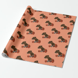 Funny Chocolate Labrador Retriever Guitar Art Wrapping Paper