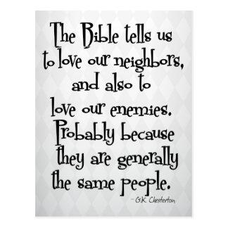 Funny Christian Religious Quote GK Chesterton Postcard