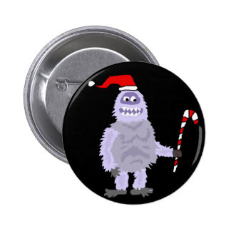 Funny Christmas Abominable Snowman 2 Inch Round Button
