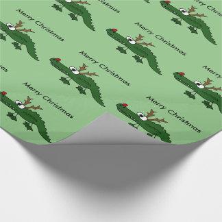 Funny Christmas Alligator as Reindeer