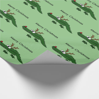 Funny Christmas Alligator as Reindeer Wrapping Paper
