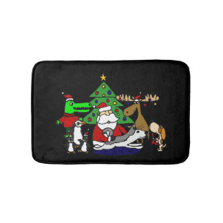 Funny Christmas Art with Santa and Friends Bath Mat