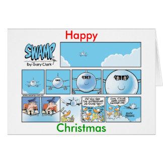 Funny Christmas Aviation Cartoon Card