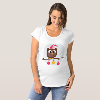 Funny Christmas Baby Owl Maternity T-shirt