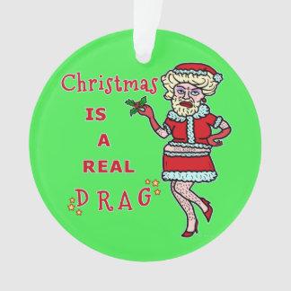 Funny Christmas Bah Humbug Santa in Drag Ornament
