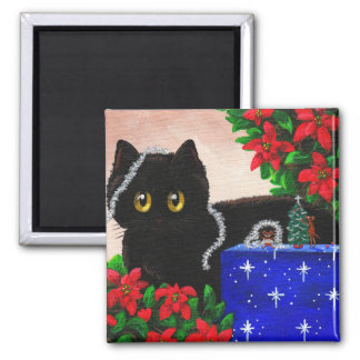 Funny Christmas Black Cat Mouse Creationarts Magnet