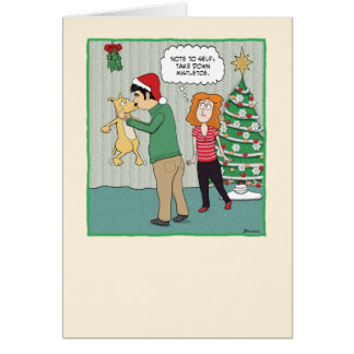 Funny Christmas card: Dog Under Mistletoe Card