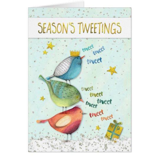Funny Christmas Card - Seasons Tweetings