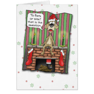 Funny Christmas Cards: Guard dog on duty Card