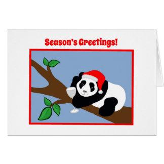 Funny Christmas Cards Panda Bear Santa with Wine