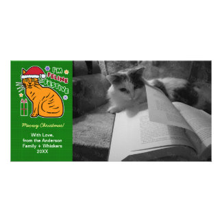 Funny Christmas Cat Feline Festive Holiday Pun Pet Custom Photo Card