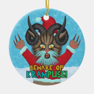 Funny Christmas Cat Humor Krampuss Holidays Pun Round Ceramic Ornament