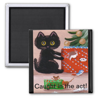 Funny Christmas Cat Mouse Present Creationarts Magnet
