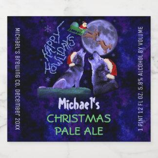 Funny Christmas Custom Homebrew Howlidays Wolves Beer Bottle Label