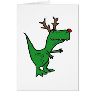 Funny Christmas Dinosaur as Reindeer Card