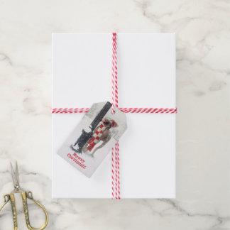 Funny Christmas Dog Licks Pole Gift Tags