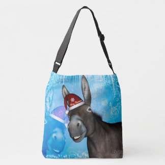 Funny christmas donkey with christmas hat crossbody bag