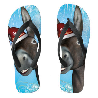 Funny christmas donkey with christmas hat flip flops