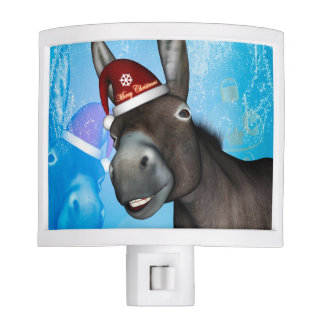 Funny christmas donkey with christmas hat nite lites