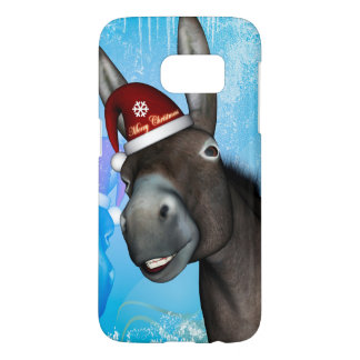 Funny christmas donkey with christmas hat samsung galaxy s7 case