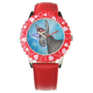 Funny christmas donkey with christmas hat wrist watches