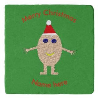 Funny Christmas Egg Stone Trivet