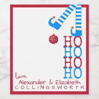 Funny Christmas Elf Wine Bottle Label HO HO HO